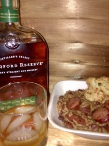 Red beans, rice and sausage paired with Woodford Reserve Rye whiskey