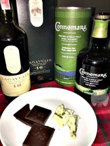 Peaty whiskies paired with Roquefort (Bleu) cheese and dark chocolate.