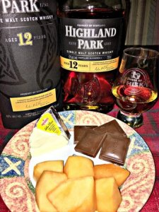 Highland Park 12 YO paired with Brie cheese, chocolate, and cantaloupe
