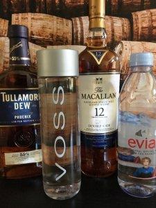 Photo of Irish whiskey, Scotch whisky and Premium Bottled water