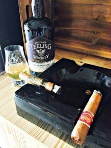Photo of Teeling Single Malt Irish whiskey with Gurkha Masquerade and Romeo y Julieta cigars